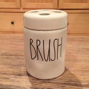 "Rae Dunn ""Brush"" ceramic canister with lid."
